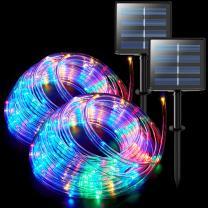 JMEXSUSS 2 Pack 100 LED Solar Rope Lights,33ft 8 Modes Solar Rope Lights Outdoor Waterproof LED Solar Powered Rope Tube for Fence,Gazebo,Yard,Walkway,Path(Multi Color)