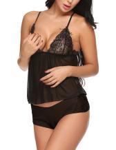 ADOME Women Sleepwear Lace Pajamas Set Strap Camisole Short Sets Lingerie Nightwear