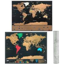2 Pack Scratch Off World Map, Travel Map Poster US States with Country Flags (16 x 12 inch, 17 x 12 inch)