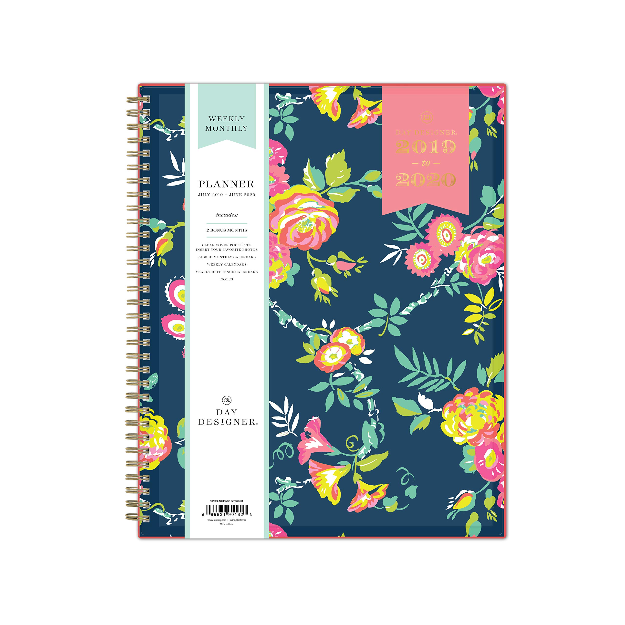 """Day Designer for Blue Sky 2019-2020 Academic Year Weekly & Monthly Planner, Flexible Cover, Twin-Wire Binding, 8.5"""" x 11"""", Peyton Navy"""