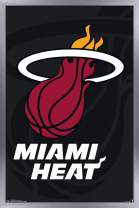 "Trends International NBA Miami Heat - Logo, 14.725"" x 22.375"", Silver Framed Version"