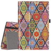 """VORI Folio Case for All-New Fire HD 10 (9th Gen 2019 and 7th Gen 2017 Release), Smart Cover Slim Folding Stand Case with Auto Wake/Sleep and Hand Strap for Amazon Fire HD 10.1"""", Mandala Floral"""