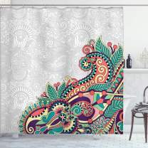 "Ambesonne Flowers Shower Curtain, Floral Background with Branches in Tribal Style Paisley Pattern Print, Cloth Fabric Bathroom Decor Set with Hooks, 70"" Long, Jade Green"