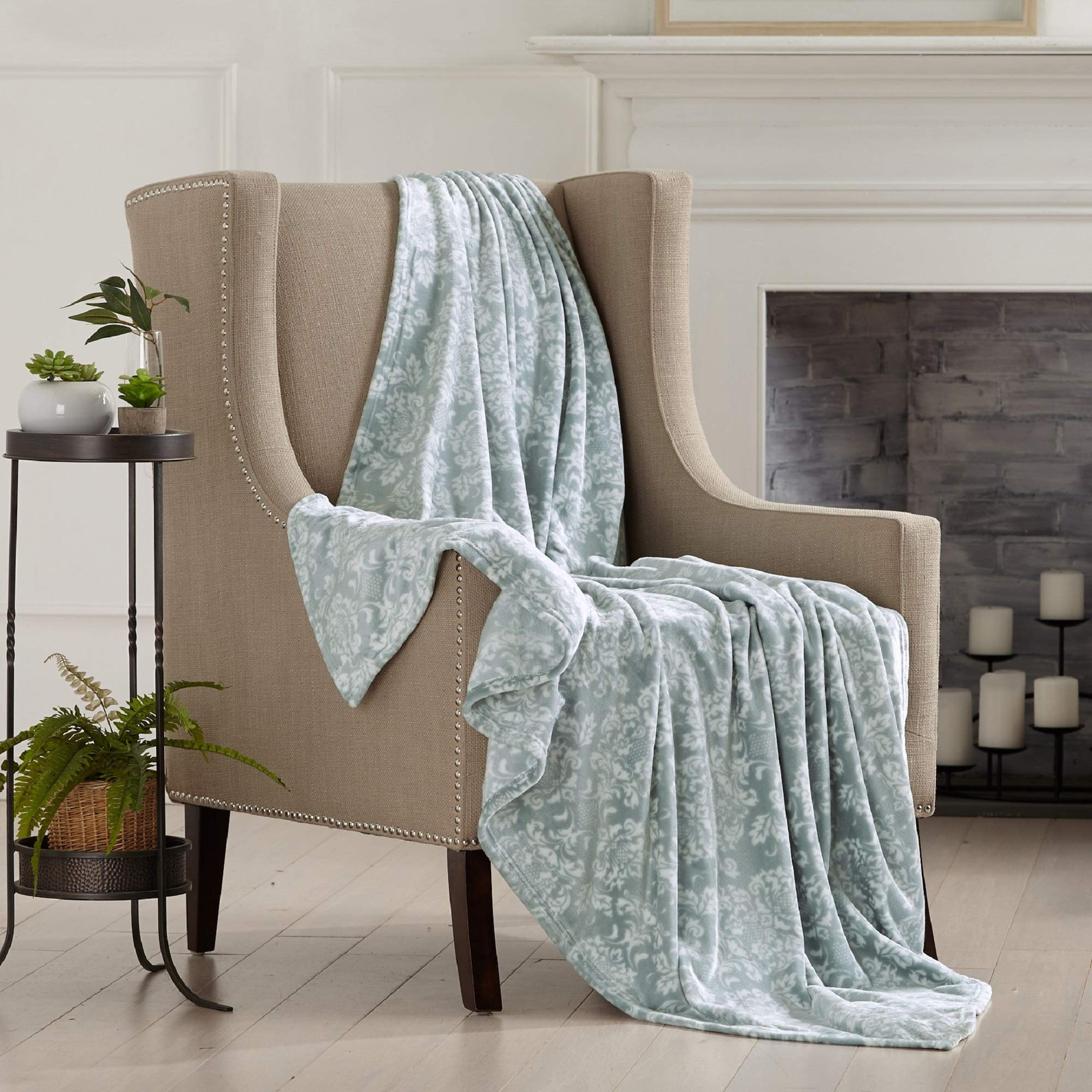 Home Fashion Designs Velvet Plush Soft Throw Blanket Grey Mist