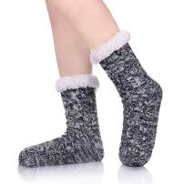 ZaYang Womens Winter Super Soft Knit Fuzzy Cozy Fleece lined Warm Non-Skid Slipper Socks Christmas Gift