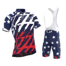 Men's American Patriot Short Sleeve Jersey, Cargo Bib Shorts, or Kit Bundle