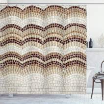"Ambesonne Beige Shower Curtain, Gradient Colored Mosaic Waves Setting Antique Roman Royal Dated Retro Patterns, Cloth Fabric Bathroom Decor Set with Hooks, 75"" Long, Beige Brown"