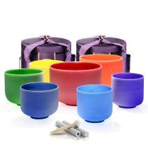 TOPFUND Chakra Tuned Set of 7 Color Perfect Pitch Crystal Singing Bowls Set 7-12 inch with Crystal Singing Bowl Carrying Case and Singing Bowl Mallet Suede Strikers and O-rings