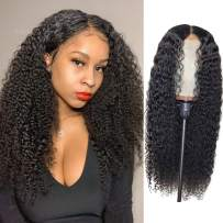 BLY Kinky Curly Lace Front Wigs for Black Women Human Hair Pre Plucked Knots Bleached 4x4 Lace Closure Wig Deep Curly Hair 1B Black Color (16 Inch, 4x4 Kinky Curly Lace Wig)