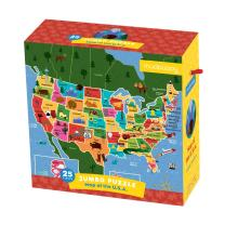 "Mudpuppy Map of the U.S.A. Jumbo Puzzle, 25 Large Pieces, 22x22"" – Great for Kids Age 2+ - Colorful Illustrations of the U.S. States – Packaged in Convenient Drawstring Box"