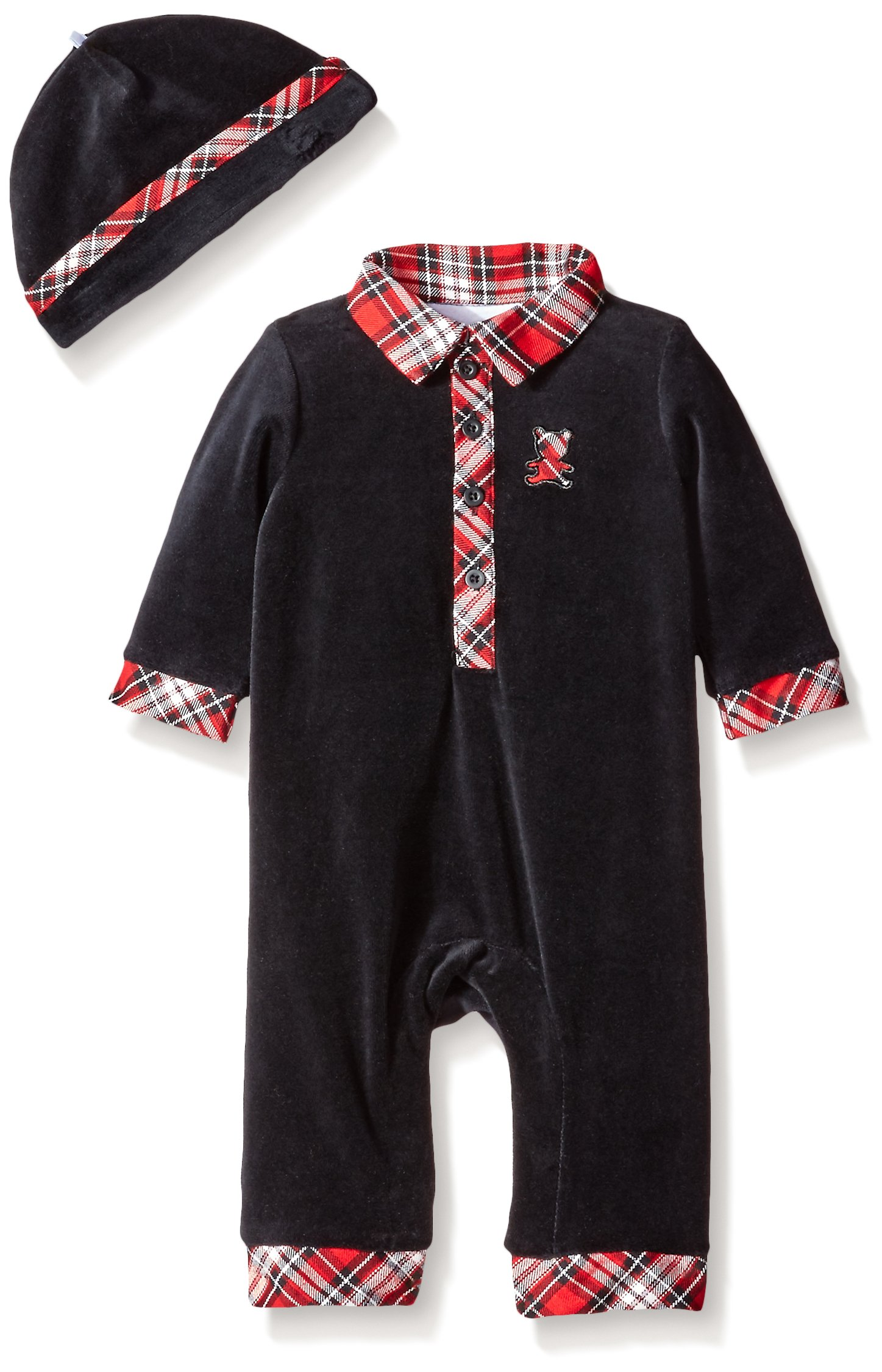 Little Me Baby Boys' Plaid Bear Coverall and Hat