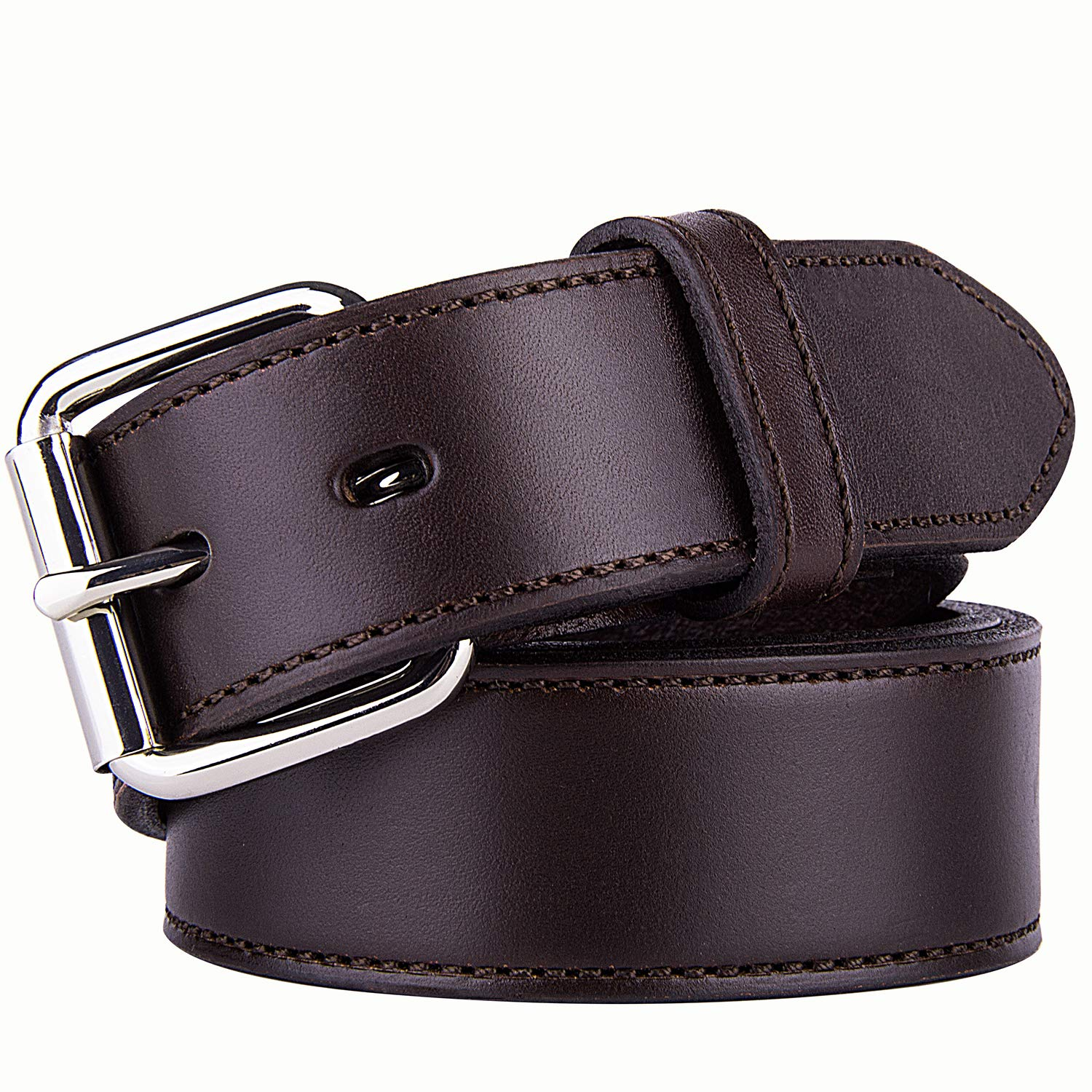POYOLEE Concealed Carry CCW Leather Gun Belt | Top Grain Leather Belt for Gun Carry | Mens Heavy Duty EDC Belt 1 1/2-Inch