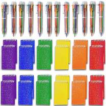 Shuttle Pens (24 Pack) + Mini Prism Spiral Notepads (24 Pack) - Great for Themed Party Favors, Diary, Homework, Goodies Bags Toy, Office School Supplies, Retractable Ballpoint Pens