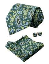 Alizeal Mens Paisley Tie, Pocket Square and Cufflinks Set