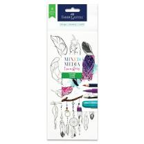 Faber-Castell Mixed Media Transfers - 20 Hand Illustrated Rub-On Transfer Designs (Feathers)