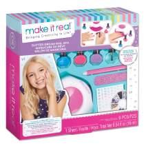 Make It Real – Glitter Dream Nail Spa - Nail Art Kit for Kids with Nail Polish, Nail Dryer, Stickers - DIY Manicure & Pedicure Set