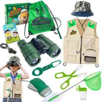 ESSENSON Outdoor Explorer Kit & Bug Catcher Kit with Vest, Binoculars, Magnifying Glass, Butterfly Net, Hat and Backpack Camping Adventure Toy Birthday Gift for Boys & Girls Age 3-12 Year Old
