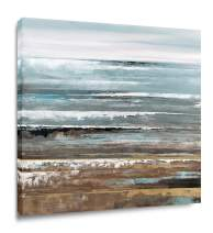 Yihui Arts Original Canvas Wall Art Oil Painting Abstract Stormy Beach Seascape for Modern Home Decor Stretched Ready to Hang (28Wx28L)