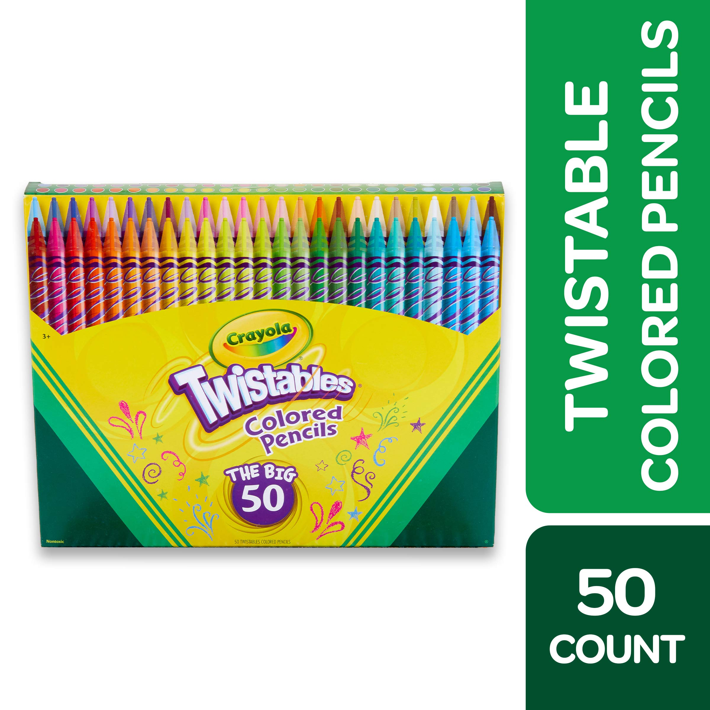 Crayola Twistables Colored Pencils Coloring Set, Kids Indoor Activities At Home, Gift Age 3+ - 50 Count