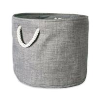 DII 5568 Collapsible Variegated Polyester Storage Bin, Large Round, Gray