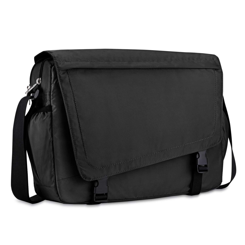 Plambag 15.6 Inch Laptop Messenger Bag Water Resistant Travel Shoulder Bag Black