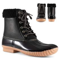 Twisted Shoes Becca Womens Rain Boots, Waterproof Wide Calf Two Tone, Lace Up Fleece Trim Duck Boot Footwear