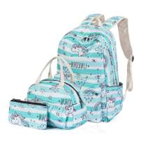 H HIKKER-LINK Rainbow School Backpack Set Bookbag Lunch Handbag Pencil Case 3pcs