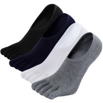 No Show Running Toe Socks Mens Liner Loafers Five Finger Sox Invisible Low Cut Boat Ankle Sock 4/5 Pairs