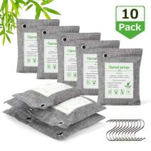 AURIDA Bamboo Charcoal Air Purifying Bags (10x 200g) Activated Charcoal Bags Odor Absorber Refrigerator Deodorizer Room Freshener Odor Eliminator Bag Remove Odors and Moisture for Pets, Car, Closet