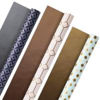 Hallmark All Occasion Reversible Wrapping Paper (Modern Metallics, Pack of 3, 120 sq. ft. ttl.) for Mothers Day, Birthdays, Bridal Showers, Baby Showers, Valentines Day and More