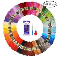 Fuyit Embroidery Floss 144 Skeins Cross Stitch Threads for Friendship Bracelets Floss Crafts Floss with Free Needle Threader Untwist Tool (48 Color)