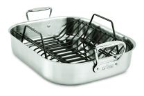 All-Clad E752C264 Stainless Steel Dishwasher Safe Large 13-Inch x 16-Inch Roaster with Nonstick Rack Cookware, 25-lbs, Silver