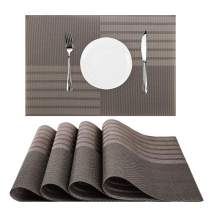 "Nuovoware Placemats, [4 PACK] 11.8"" H x 17.7"" W Premium Exquisite Crossweave Stain Resistant Heat-resistant Non-slip Textilene Woven Plaid Kitchen Table Dining Mat Pads Place Mats, Brown"