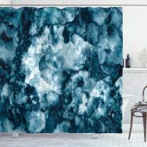 "Ambesonne Marble Shower Curtain, Antique Marble Stone with Blurry Distressed Motley Fractal Effects Illustration Artwork, Cloth Fabric Bathroom Decor Set with Hooks, 75"" Long, Blue Indigo"