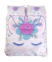 ADASMILE A & S Unicorn Bedding Queen for Girls and Kids Gifts for Teens or Little Unicorn Lovers Fancy Bedroom Decor Pretty Bed Cover Set with Flowers(White, Queen)