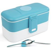 Home and Above Bento Box Stackable Lunch Box with Fork & Spoon Compact size - Blue - FDA Approved, BPA Free, Microwavable, Fridge & Freezer Safe.