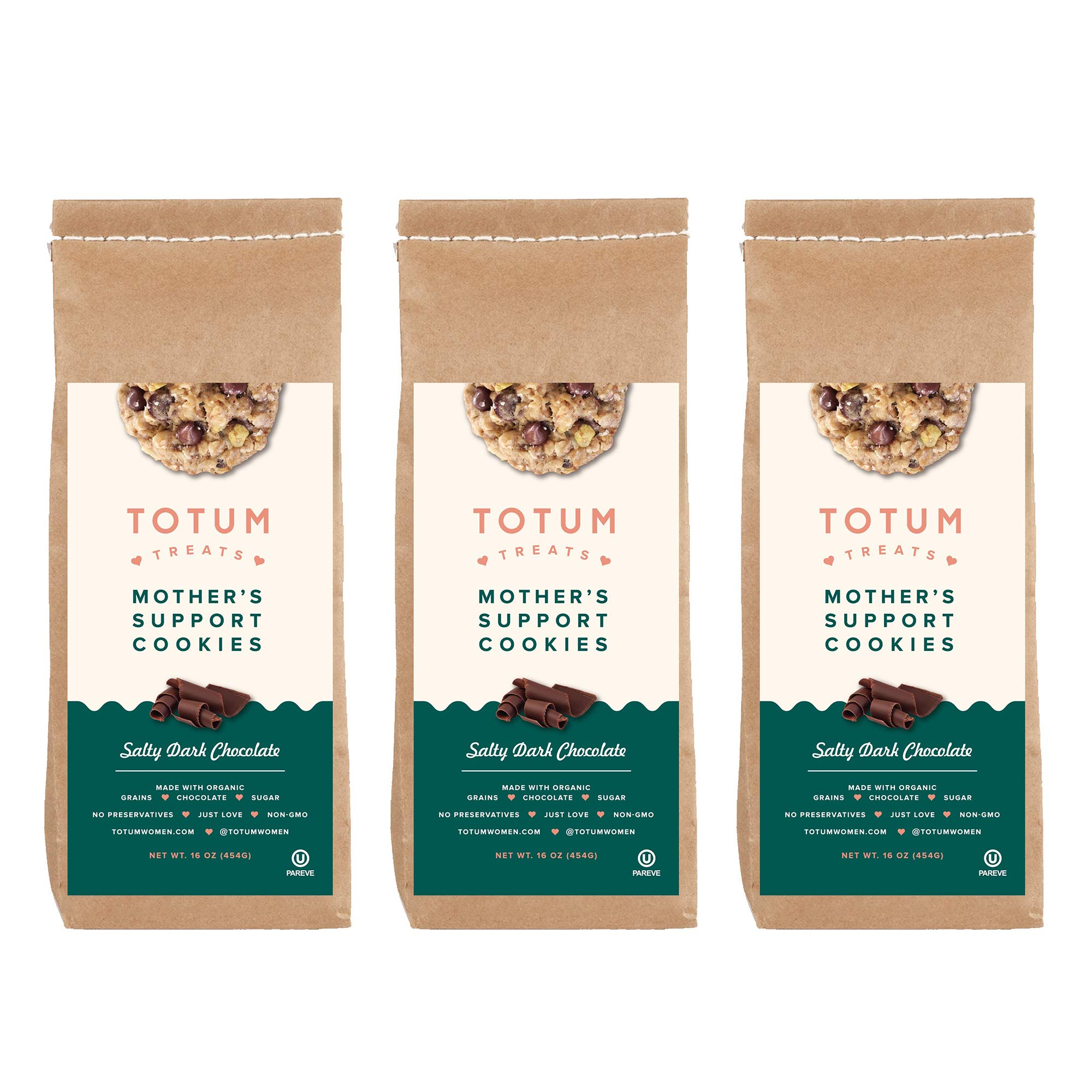 Totum Treats Lactation Cookie Mix for Relactation and Increase Breastmilk Supply - Organic Mother's Support Cookies for Breastfeeding, Nursing - Salty Dark Chocolate, 10 oz. Bag (3 Pack)