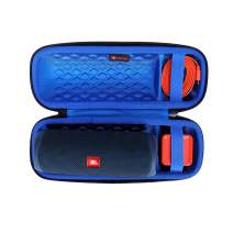 XANAD Hard Travel Carrying Case for JBL FLIP 5 Waterproof Portable Bluetooth Speaker - Storage Protective Bag (Outside Black and Inside Blue)