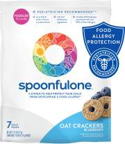 SpoonfulOne Allergen Introduction Oat Crackers | Protection For Kids From Developing a Food Allergy | Snack for a Toddler or Baby 12+ Months | Certified Organic (Blueberry - 7 Pack)