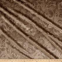 Unique Quality Fabrics Embossed Velvet Scroll Fabric, Yard, Taupe