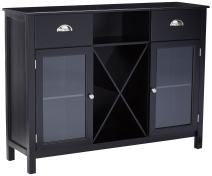 King's Brand Wood Wine Rack Console Sideboard Table with Drawers and Storage, Black Finish