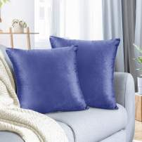 """Nestl Bedding Throw Pillow Cover 24"""" x 24"""" Soft Square Decorative Throw Pillow Covers Cozy Velvet Cushion Case for Sofa Couch Bedroom, Set of 2, Calm Blue"""