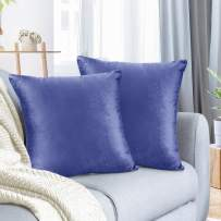 """Nestl Bedding Throw Pillow Cover 26"""" x 26"""" Soft Square Decorative Throw Pillow Covers Cozy Velvet Cushion Case for Sofa Couch Bedroom, Set of 2, Calm Blue"""