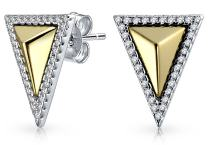 Minimalist Geometric Two Tone Triangle Arrow Cubic Zirconia Pave CZ Stud Earrings 14K Gold Plated Sterling Silver
