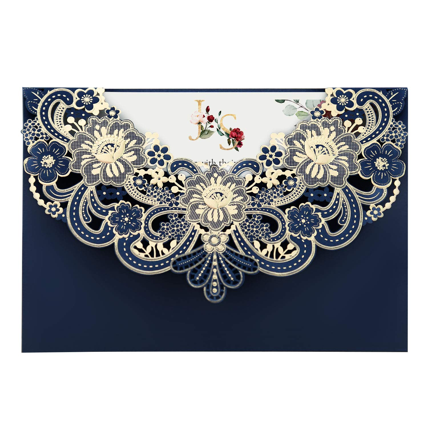 Doris Home 50pcs Navy Blue Laser Cut Flora Lace Invitation Cards with Blank Inner Sheets and Envelopes for Wedding invitations, Bridal Shower, Engagement, Birthday, Baby Shower (50) (Blue)