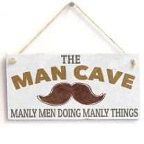 """Meijiafei 'Man Cave Manly Men Doing Manly Things' Gift for Man/Boys Room Door Sign/Plaque 10""""x5"""""""
