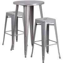 Flash Furniture 24'' Round Silver Metal Indoor-Outdoor Bar Table Set with 2 Square Seat Backless Stools
