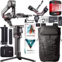 DJI RS 2 Gimbal Handheld 3-Axis Stabilizer for DSLR and Mirrorless Cameras Bundle with 1YR Extended Coverage + Deluxe Active Travel Backpack + 64GB microSD Card + Photo Video Studio Software Kit