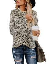 Blooming Jelly Womens Leopard Print Tops Long Sleeve Round Neck Casual T Shirts Tees