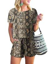 MILLCHIC Women's Summer Leopard Print Casual Loose Crewneck Short Sleeve Elastic Waist Jumpsuit Rompers with Pockets